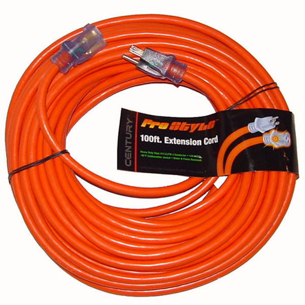 Century Pro Style 100' 12 Gauge Contractor Grade Power Extension Cord, 12/3, D19912100