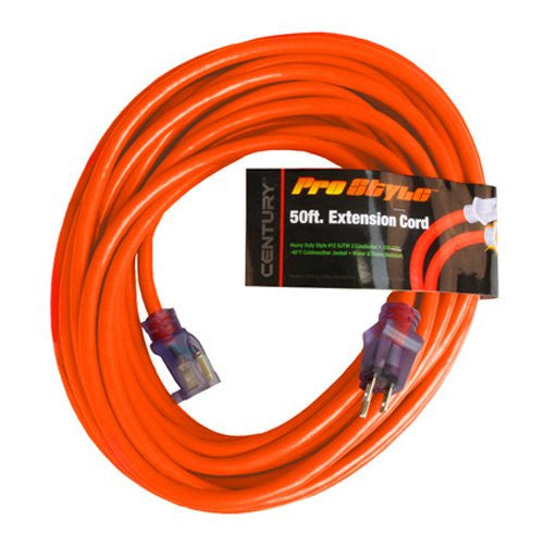 Century Pro Style 50' 12 Gauge Contractor Grade Power Extension Cord, 12/3, D19912050