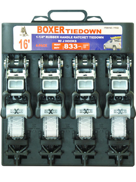"Boxer 77032 4 Pc HD Ratcheting Tie Down, 1 1/4"" x 16' 2300 lbs"