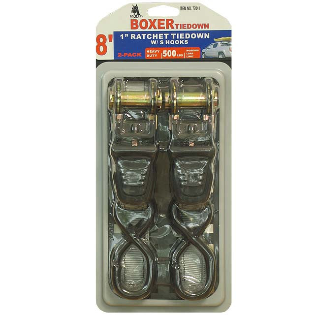 "Boxer 77041 2 Pc Ratcheting Tie Down, 1"" x 8' 1500 lbs"