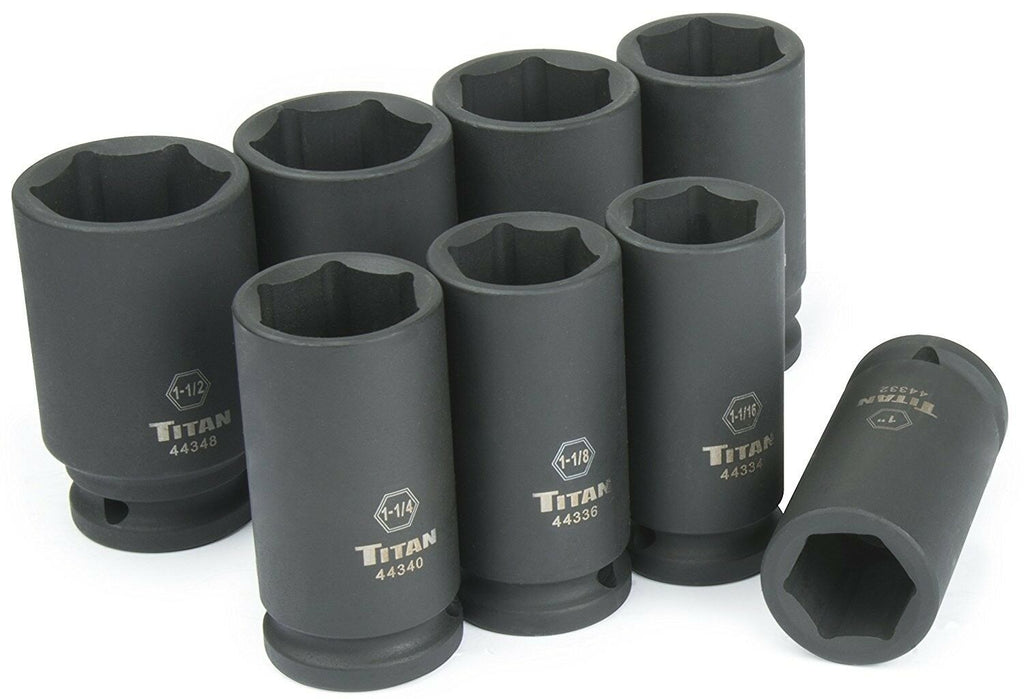 Titan Tools 44300 8 Piece ¾ Inch Drive SAE Deep Impact Socket Set