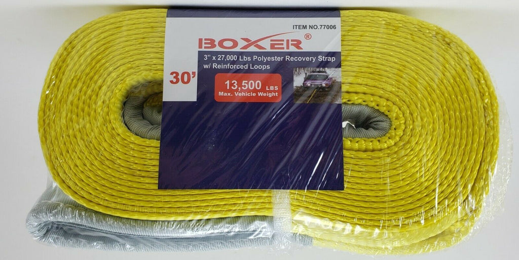 "Boxer 3"" x 30' 27000 lbs Polyester Recovery Strap w/ Loop Ends, 77006"