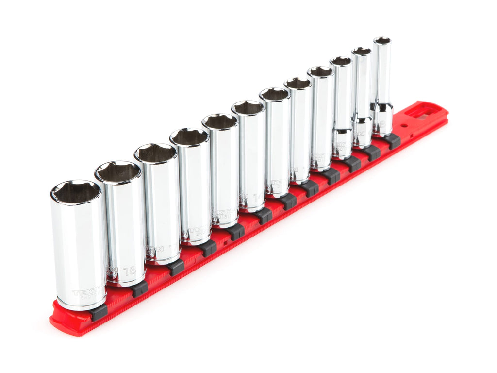 Tekton SHD91106 3/8 Inch Drive Deep 6-Point Socket Set, 12-Piece (8-19 mm)