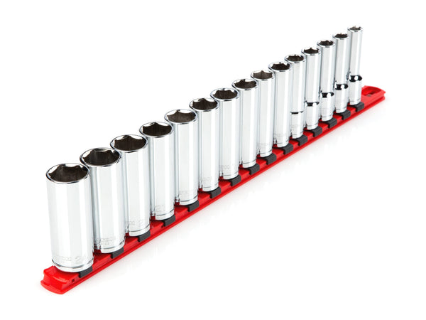 Tekton SHD92106 1/2 Inch Drive Deep 6-Point Socket Set, 15-Piece (10-24 mm)
