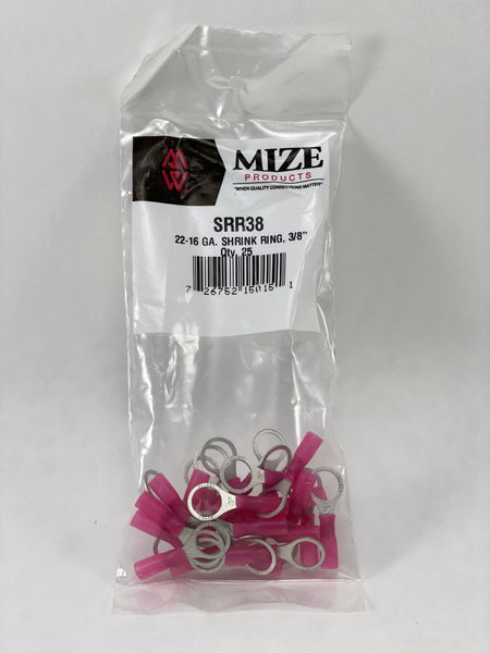"Mize Wire 25 Pc 22-16 GA 3/8"" Red Heat Shrink Ring, SRR38"