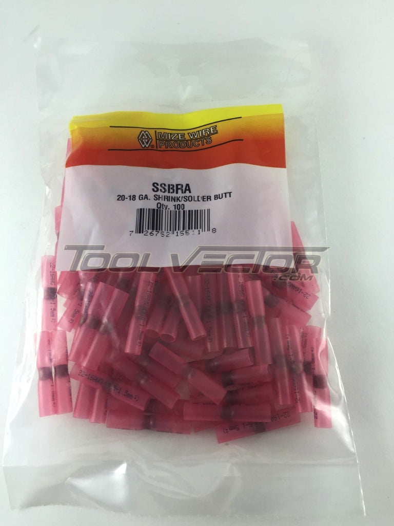 Mize 100 Pc Shrink Solder Red 22-16 Gauge Butt Connectors, Made in USA