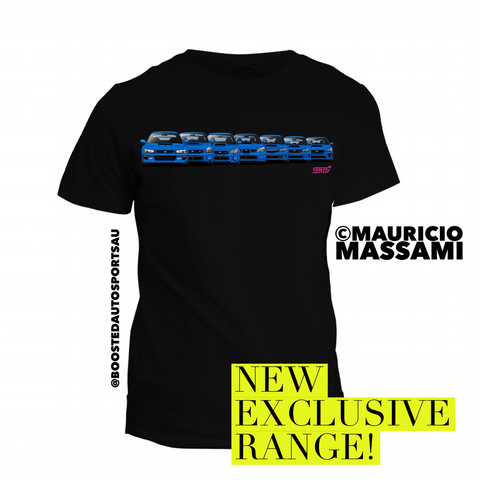 "Exclusive Subaru WRX STI ""Generations"" T-Shirt - Boosted Autosports PTY LTD"