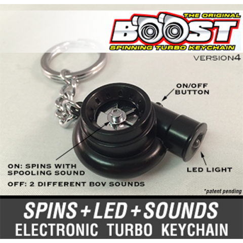 Black - Boost V4 Electronic Turbo Keychain -