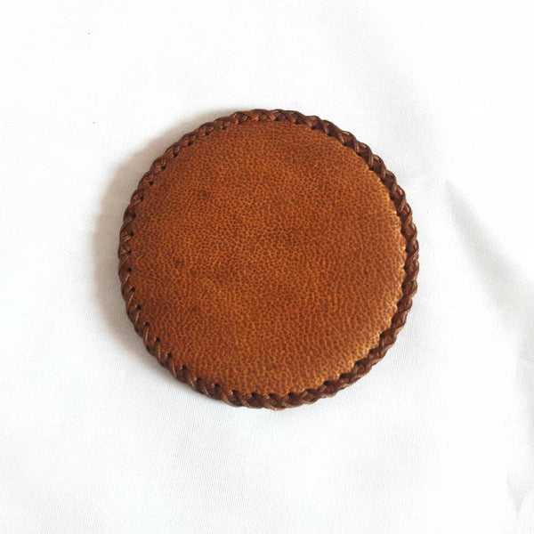 Sepia Compact Mirror in Camel Leather