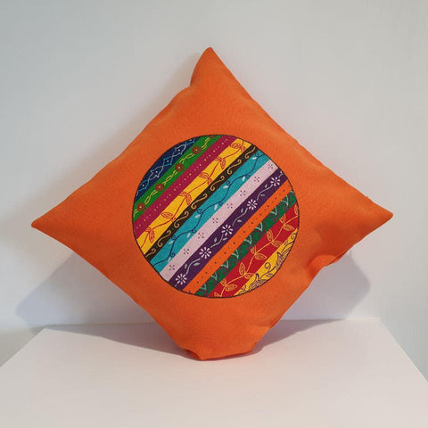 Colourful Iranian Patterns in Orange Cushion