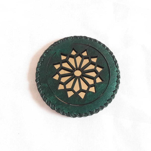 Green Jade Compact Mirror in Camel Leather with Geomtry Accent