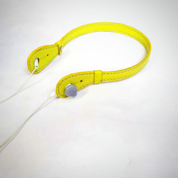Goat Leather Yellow Headphone Holder
