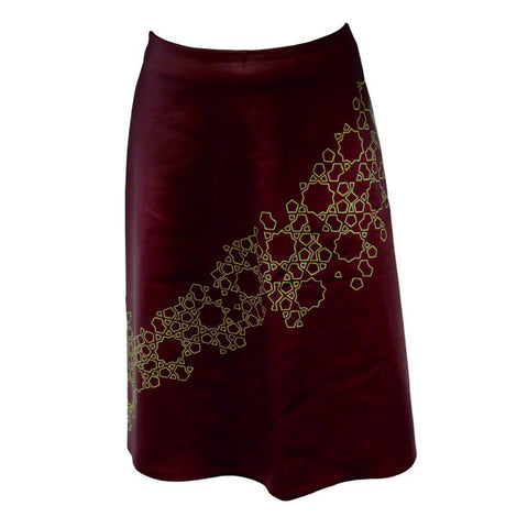 Burgundy Leather Skirt with Persian Pattern