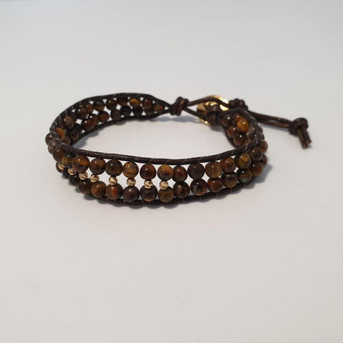Brown Leather Braided Bracelet with 18K Gold