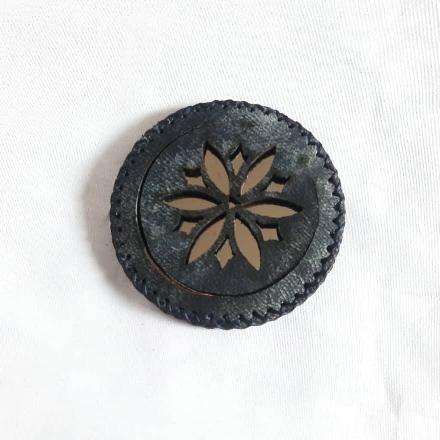 Denim Blue Compact Mirror in Camel Leather with Flower at Heart