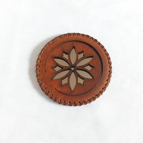 Sepia Compact Mirror in Camel Leather with Flower at Heart