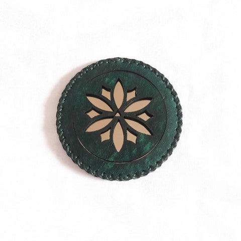 Green Jade Compact Mirror in Camel Leather with Flower at Heart