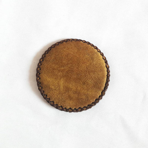Band of Gold Yellow Compact Mirror in Camel Leather with Flower at Heart