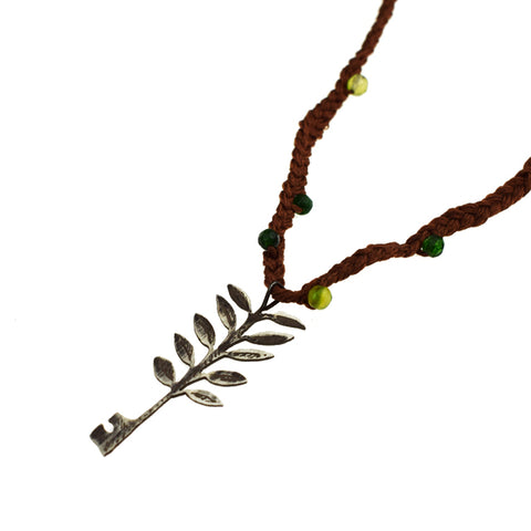 Peace Necklace with Threads and Green Beads