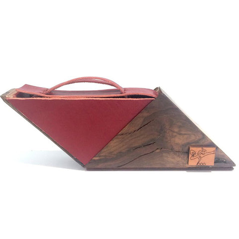 Red, Green & Wooden Handbag/ Clutch Bag