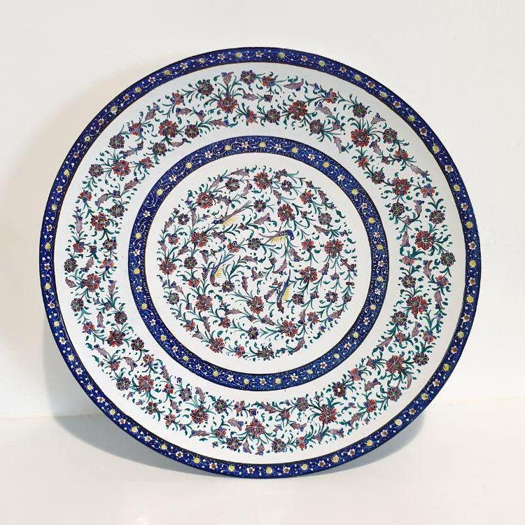 Fine Art Mina Copper Enamel Plate with Khataei Flowers