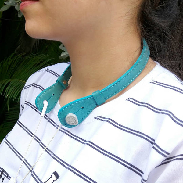 Goat Leather Turquoise Blue Headphone Holder