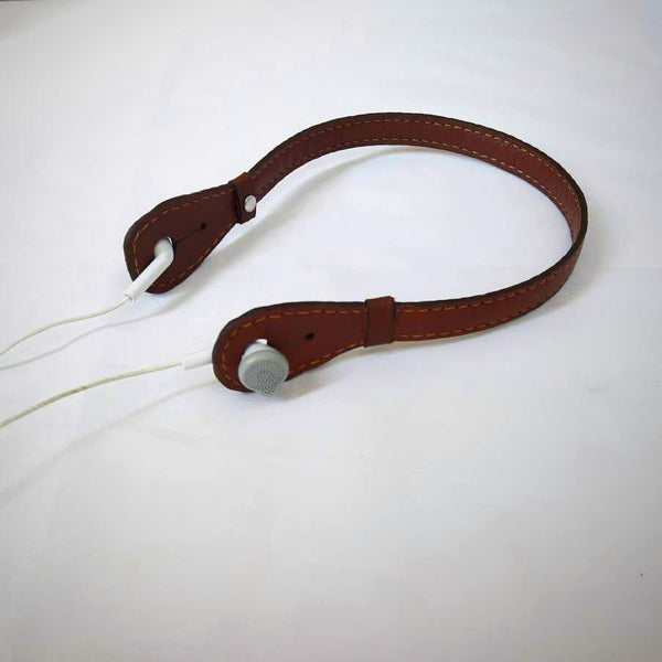 Goat Leather Caramel Brown Headphone Holder