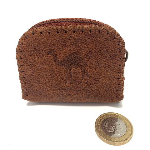 Brown Camel Leather Coin Bag
