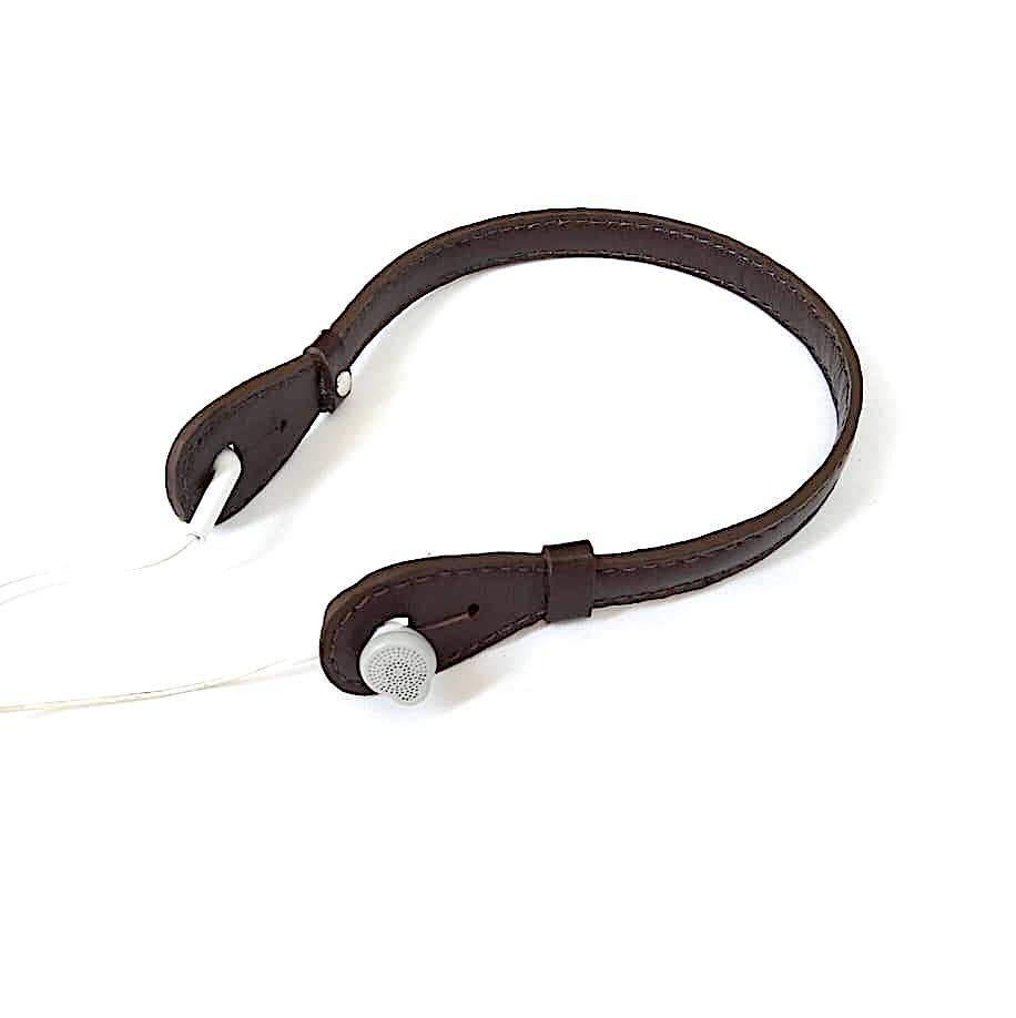 Goat Leather Chocolate Brown Headphone Holder
