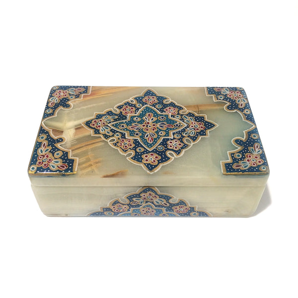 Tazhib Marble Box With Blue Jade Accent