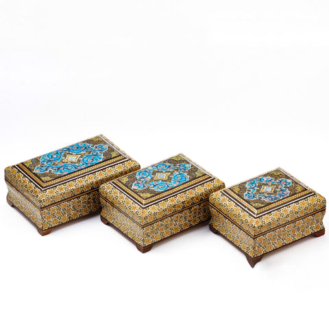 Blue In Middle with Three Different Sizes Khatam/Marquetry Box