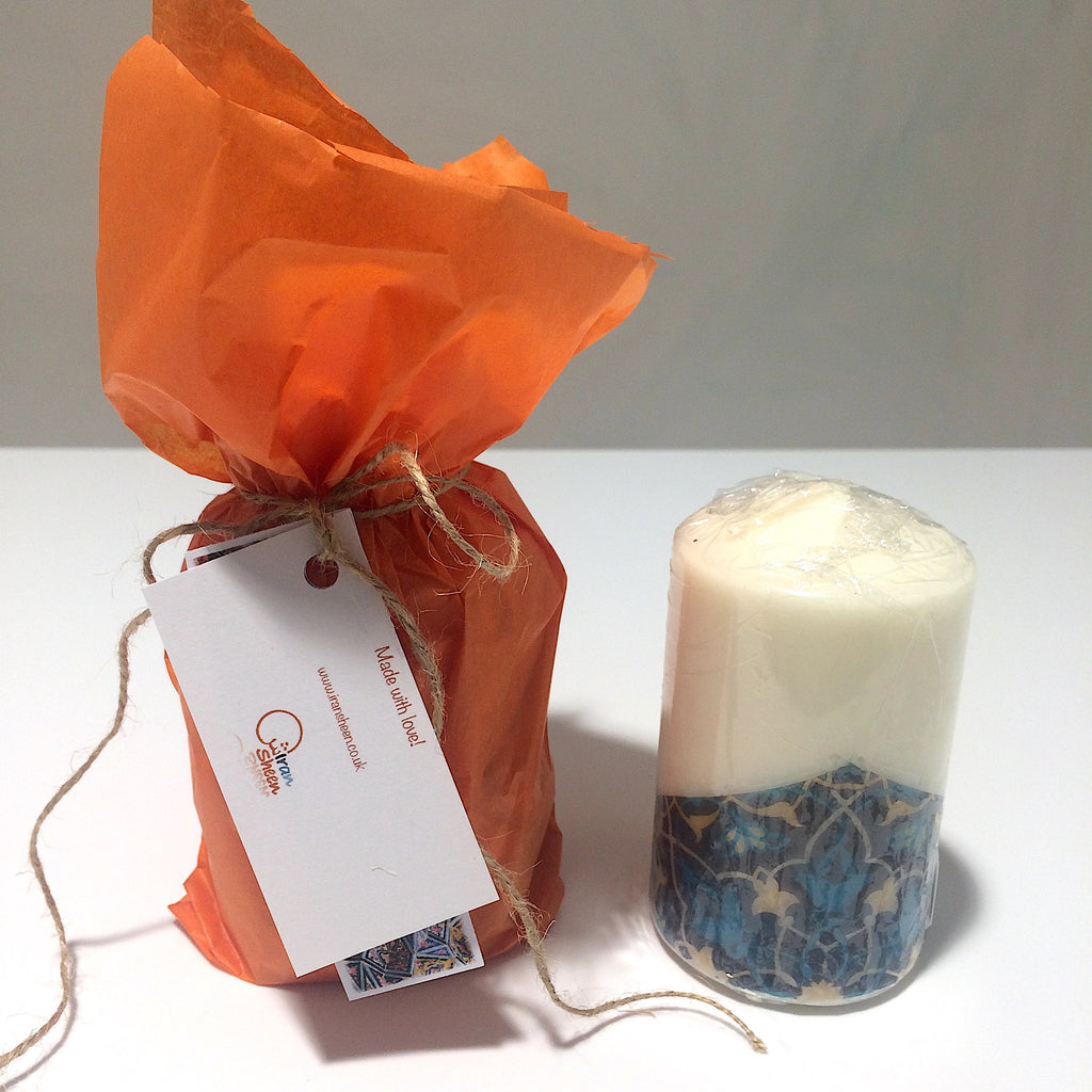 Persian Islimi Pattern Candle with Blue Accent - Medium