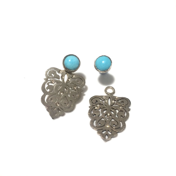 Bastam Silver Earrings with Turquoise