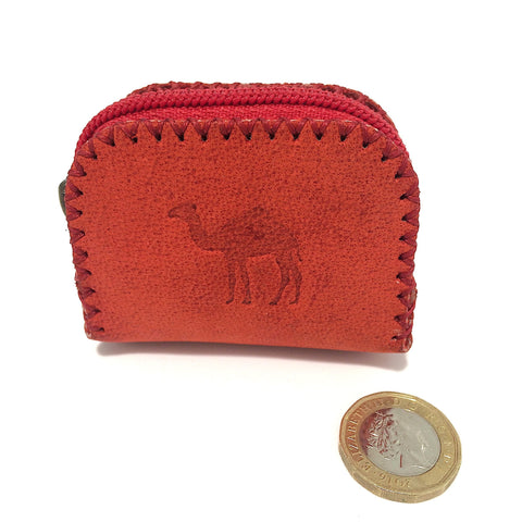 Red Camel Leather Coin Bag