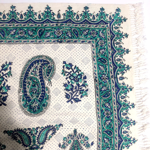 Turquoise Green Isfahan Cretonne Throw/ Tablecloth
