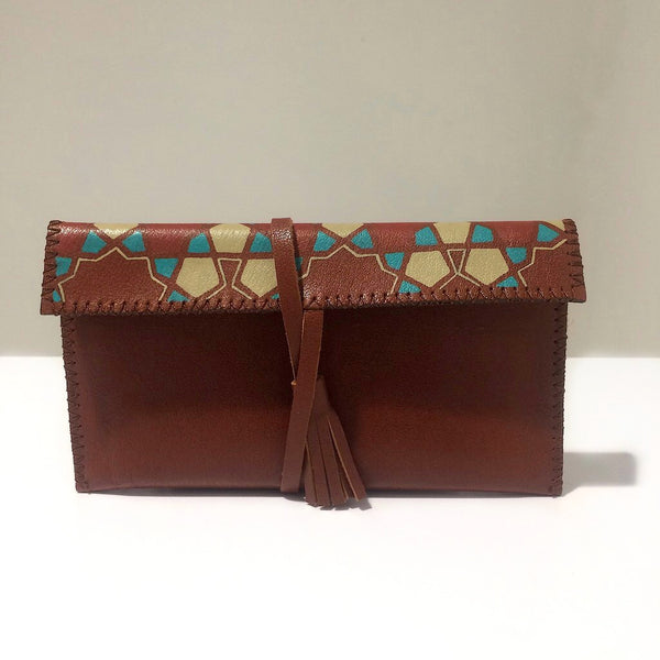 Brown Leather Handmade Bag With Handpainted Geometry Art