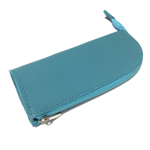 Turquoise Blue Leather Handmade Pencil Case