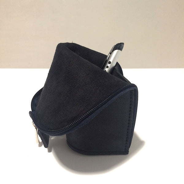 Dark Navy Blue Leather Handmade Pencil Case