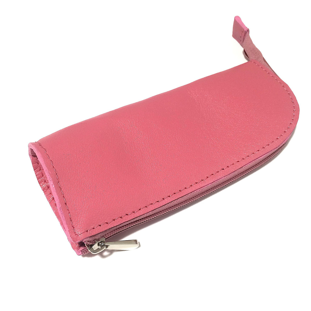 Pink Leather Handmade Pencil Case