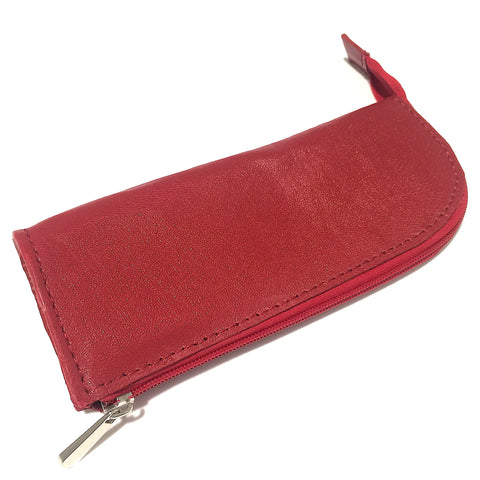 Red Leather Handmade Pencil Case