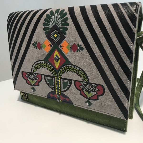 Earthy Green Hand Painted Bag