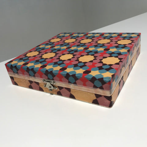 Wooden Box with Geometric Patterns