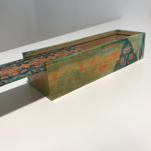 Green Accent Wooden Pencil Case