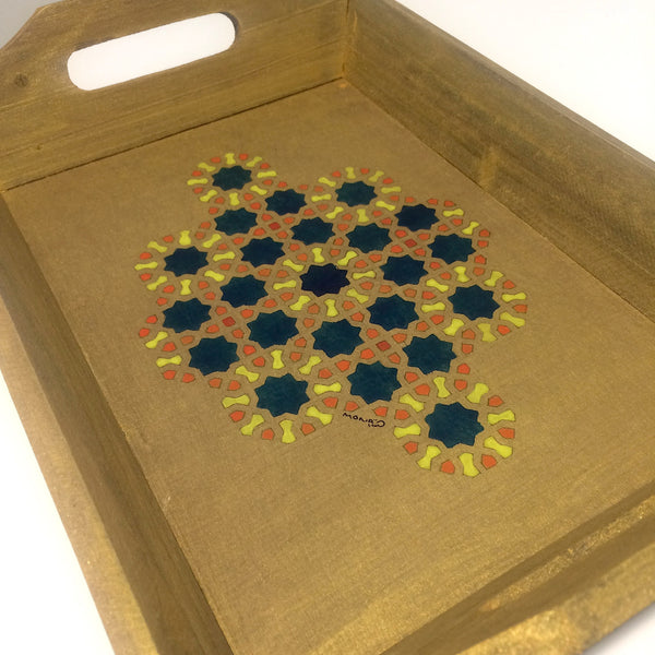 Gold Wooden Tray with Geometrics