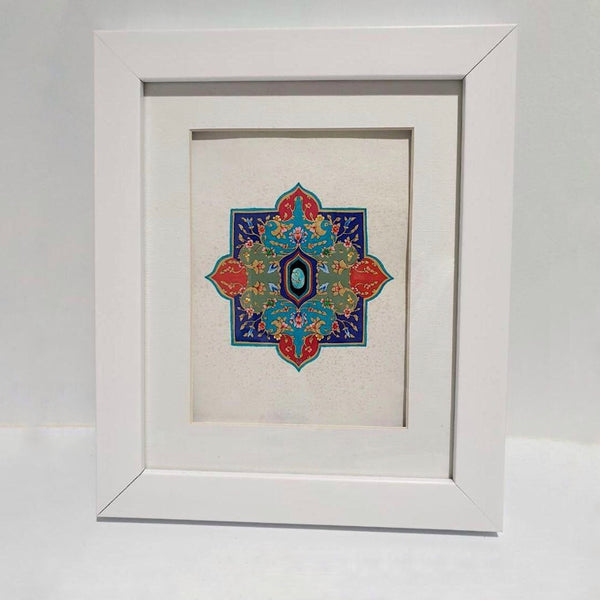 Khataei & Islimi with a Turquoise at Heart and Lapis Lazuli Accent Framed Painting - Limited Edition