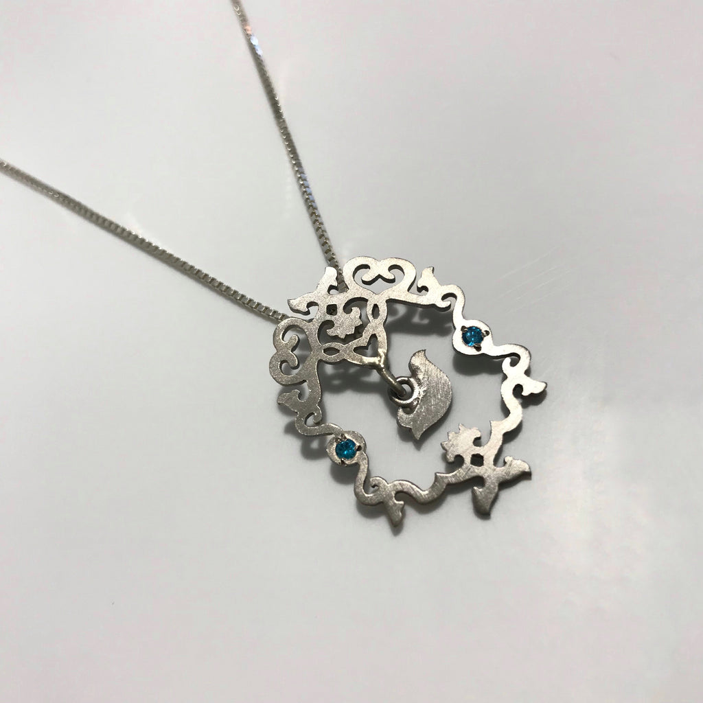 Blue Amen Bird Necklace