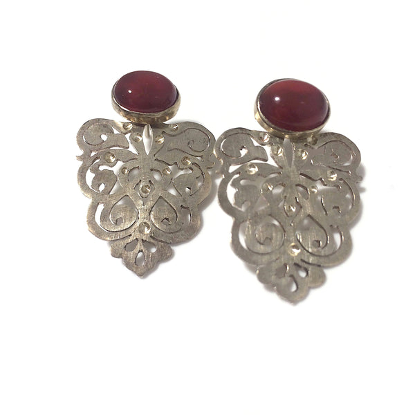 Bastam Silver Earrings with Red Agate