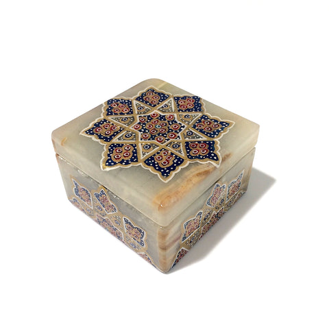 Tazhib Marble Box With Blue Accent