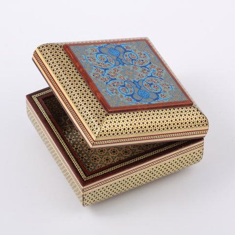 Premium Ala Khatam / Marquetry Box with Blue Eslimi (Islimi) Patterns