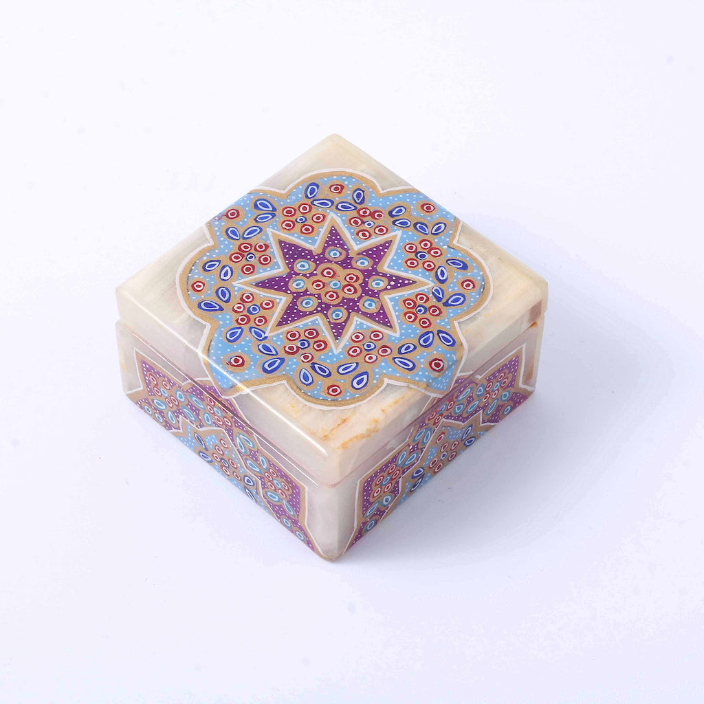 Purple Tazhib Marble Box